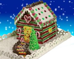 Gingerbread house made of Chocolate covered Pretzels